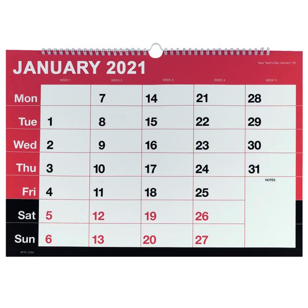Calendars Monthly Calendar A3 Wirebound 2021 KFYC2321