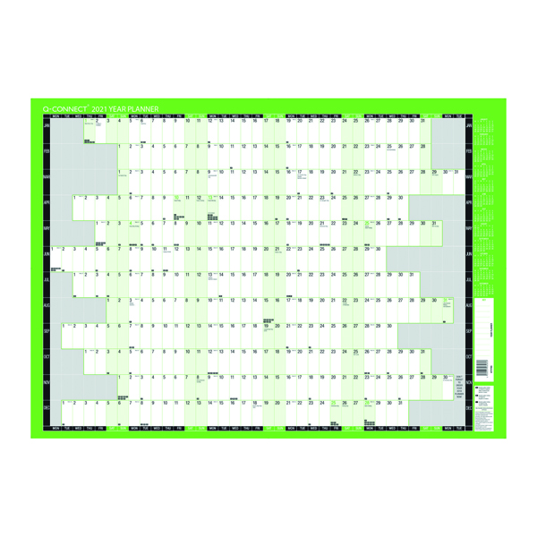Planners Q-Connect Year Planner Unmounted 855 x 610mm 2021 KFYPU21