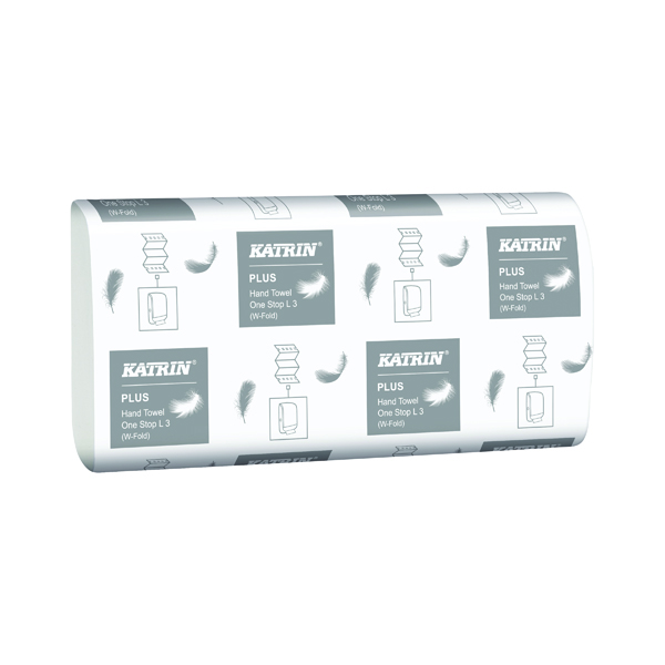 Hand Towels & Dispensers Katrin M-Fold Plus Hand Towels 3-Ply White (1890 Pack) 344020