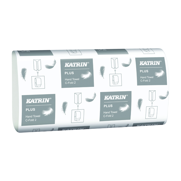 Hand Towels & Dispensers Katrin C-Fold Plus Hand Towels 2-Ply White (2400 Pack) 344388