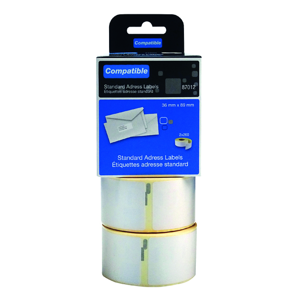 Labelling Tapes & Labels Compatible DYMO Large Address Label 36 x 89mm (520 Pack) LL87012