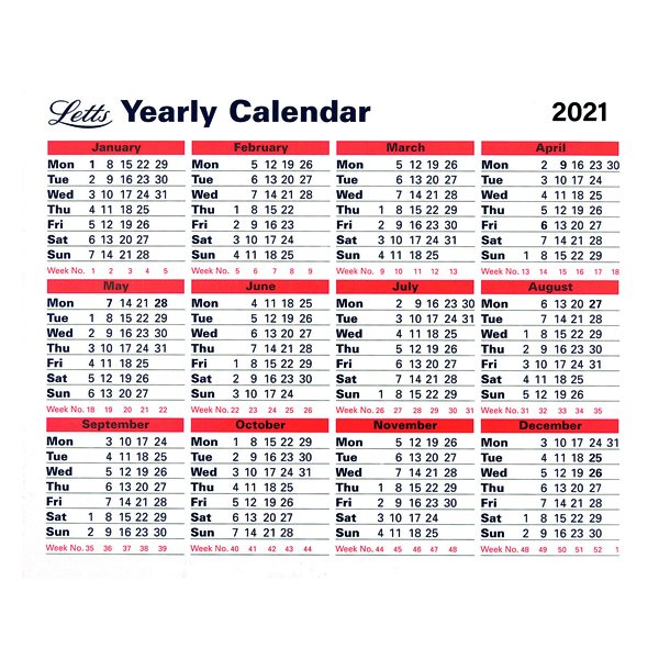 Yearly Letts Yearly Calendar 210 x 260mm 2021 21-TYC
