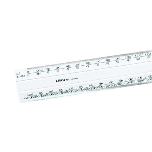 Linex Flat Scale Ruler 1:1 1:20-500 30cm White LXH 434