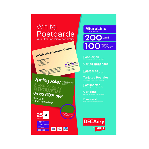 Cards Decadry Postcards A4 Micro-perforated Sheet White (100 Pack) OCB3325