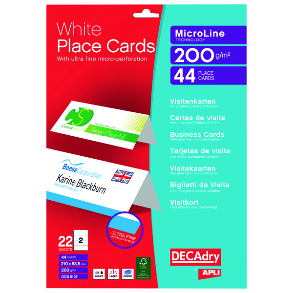 Cards Decadry Perforated Place Cards 200gsm White (44 Pack) OCB5107