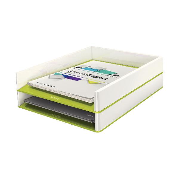 Leitz WOW Letter Tray White/Green 53611064