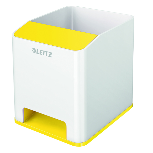 Cup Leitz WOW Sound Pen Holder Dual Colour White/Yellow 53631016