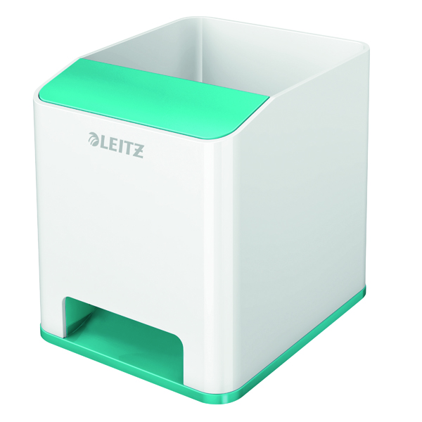 Cup Leitz WOW Sound Pen Holder Dual Colour White/Ice Blue 53631051