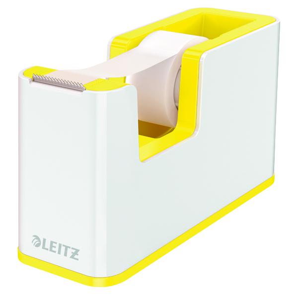 Leitz WOW Tape Dispenser Dual Colour White/Yellow 53641016
