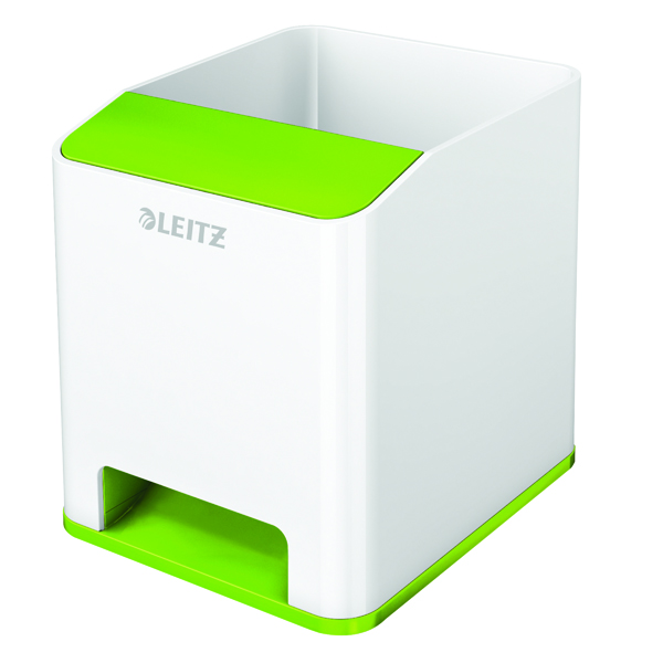 Cup Leitz WOW Sound Pen Holder Dual Colour White/Green 53631054