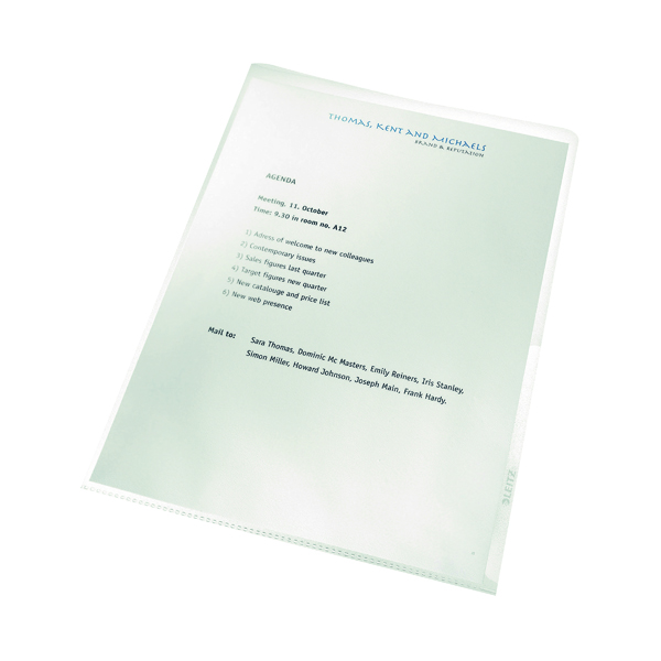 Leitz Recycle Cut Flush Folders A4 Clear (100 Pack) 40011003