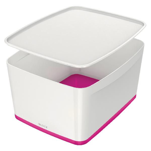 Leitz MyBox Large Storage Box With Lid White/Pink 52161023