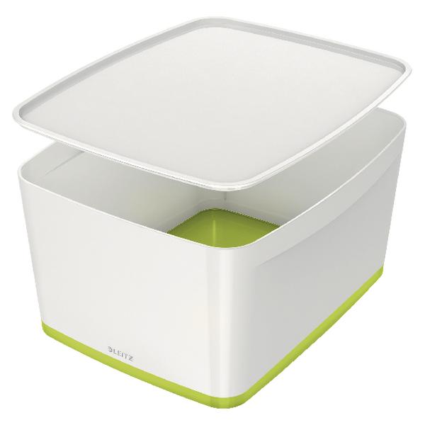 Leitz MyBox Storage Box Large With Lid White/Green 52161064