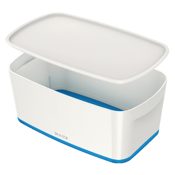 Leitz MyBox Small Storage Box With Lid White/Blue 52291036