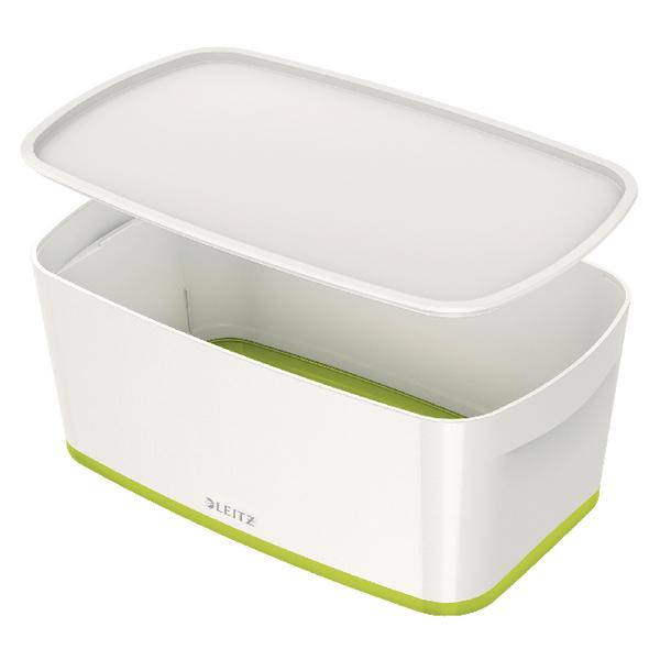 Leitz MyBox Small Storage Box With Lid White/Green 52291064