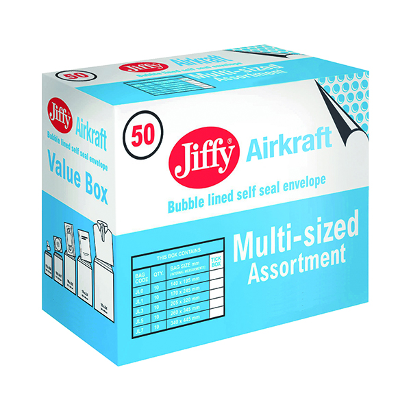 Jiffy AirKraft Bag Assorted Sizes Gold (50 Pack) JL-SEL-A