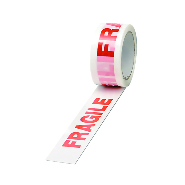 Printed & Coloured Tape Polypropylene Tape Printed Fragile 50mmx66m White Red (6 Pack) PPP-C