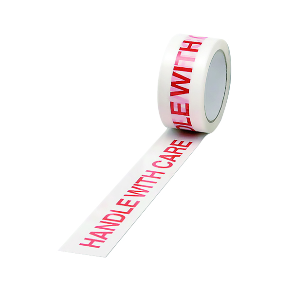 Printed & Coloured Tape Polypropylene Tape Printed Handle With Care 50mmx66m White Red (6 Pack) 70581500