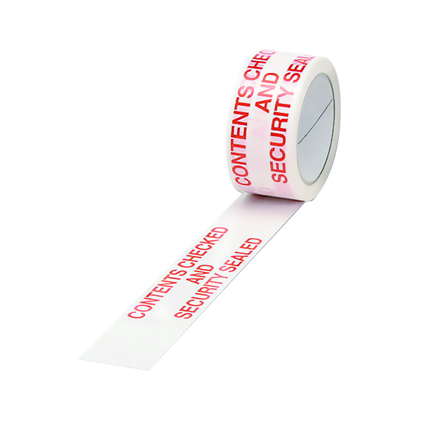 Printed & Coloured Tape Polypropylene Tape Printed Contents Checked 50mmx66m (6 Pack)White Red PPPS-SECURITY