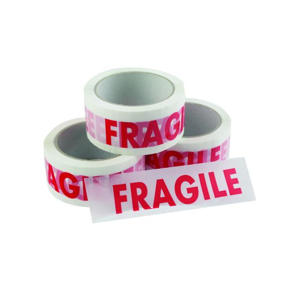 Vinyl Tape Printed Fragile 50mmx66m White Red (6 Pack) PPVC-FRAGILE