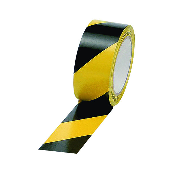 Printed & Coloured Tape Vinyl Tape Hazard Yellow/Black 50mm x 33m (6 Pack) PVC-50-33-HAZYB