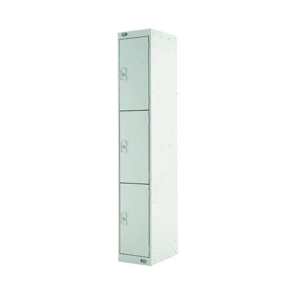 Three Compartment Locker D300mm Light Grey Door MC00014