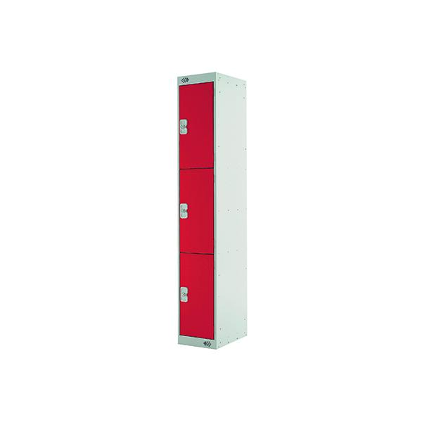 Three Compartment Locker D300mm Red Door MC00017