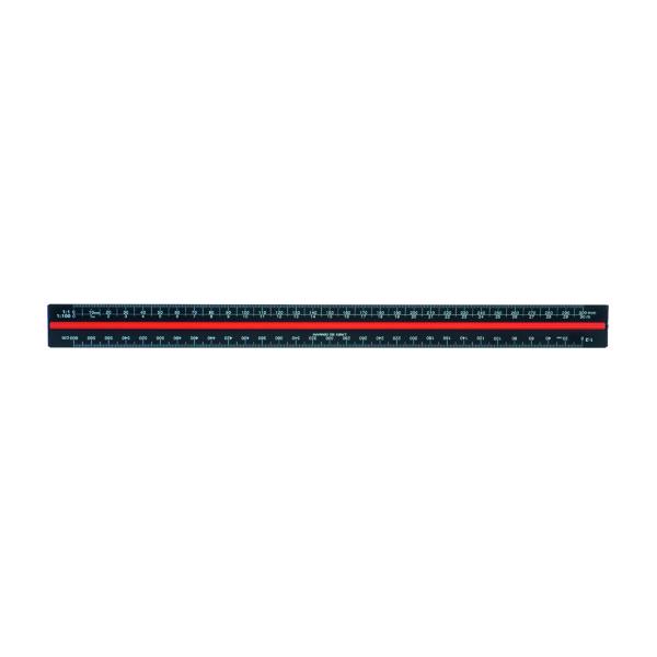 16-30cm Linex Tri-Scale Ruler 30cm Aluminium Black H382