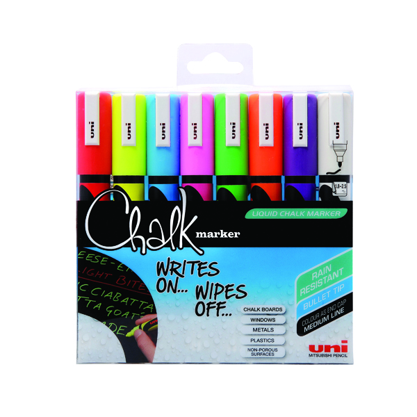 Marker Uni-Ball UniChalk Chalk Marker Medium Assorted (8 Pack) 153494341