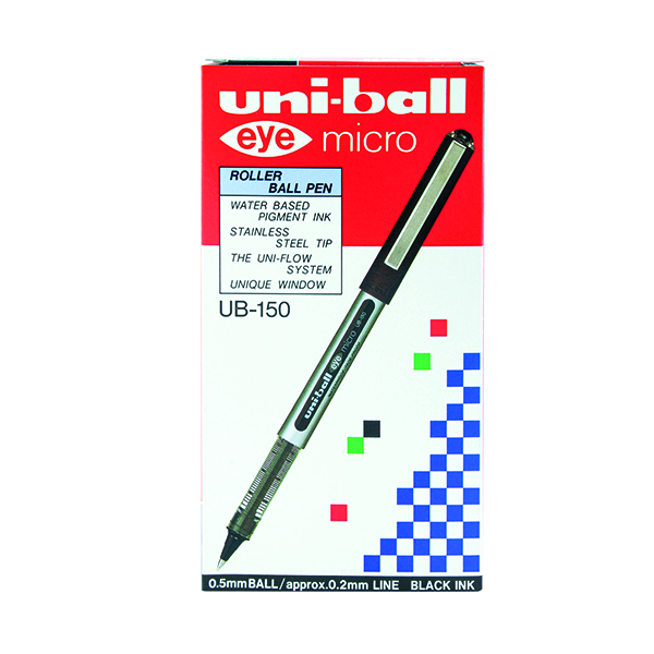 Black Uni-Ball UB-150 Eye Rollerball Pen Fine Black (12 Pack) 9000500