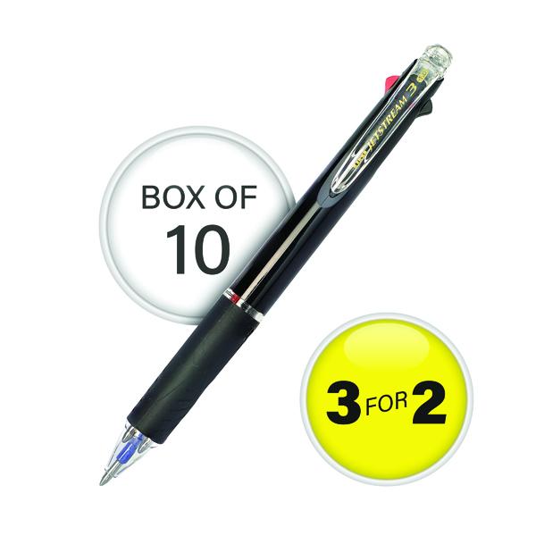 Assorted Uni-Ball Jetstream Black Barrel 3 Colour Pen Medium (10 Pack) 3For2