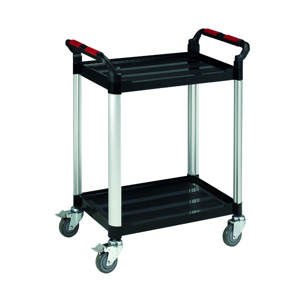 Trolley Barton Black and Silver 2 Shelf Standard Plastic Trolley WHTT2SS