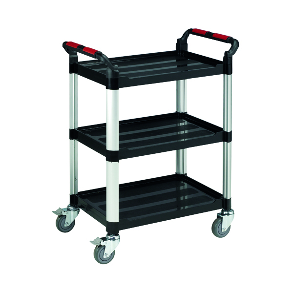 Trolley Barton Black and Silver 3 Shelf Standard Plastic Trolley WHTT3SS