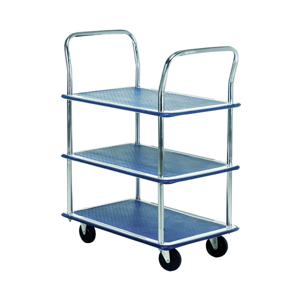 Barton Silver and Blue 3 Shelf Trolley With Chrome Handles PST3