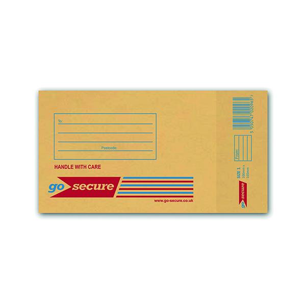 Bubble GoSecure Bubble Lined Envelope Size 1 100x165mm Gold (100 Pack) ML10038