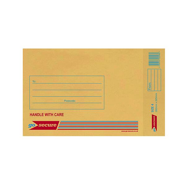 Bubble GoSecure Bubble Lined Envelope Size 4 180x265mm Gold (100 Pack) ML10046