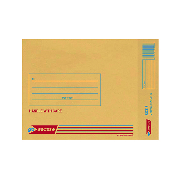 Bubble GoSecure Bubble Lined Envelope Size 5 220x265mm Gold (100 Pack) ML10050