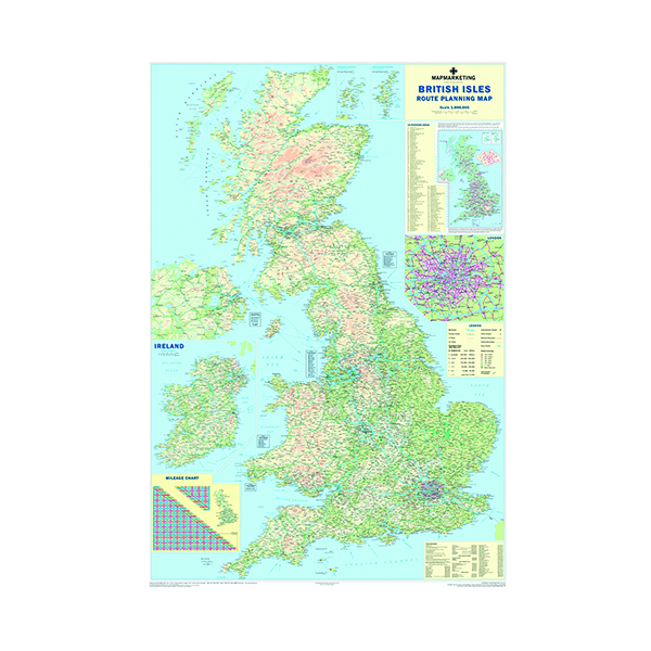 Country Map Marketing British Isles Motoring Laminated Map BIM