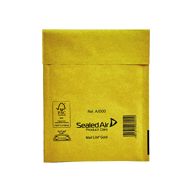 Bubble Mail Lite Bubble Lined Postal Bag Size A/000 110x160mm Gold (100 Pack) 103049052
