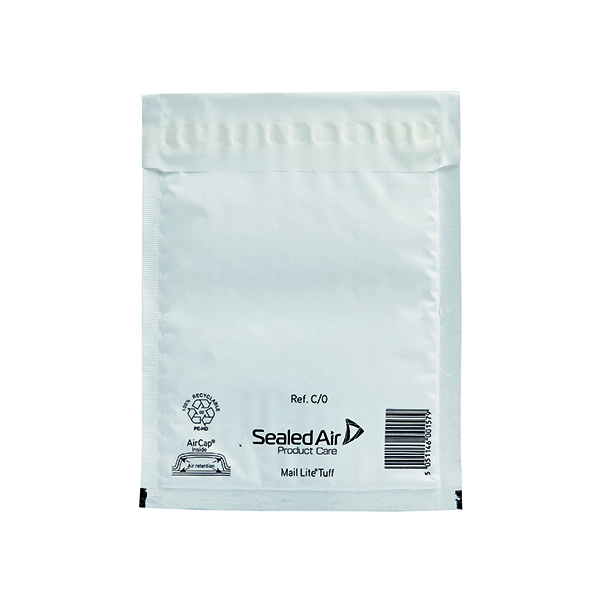 Mail Lite Tuff Bubble Lined Postal Bag Size C/0 150x210mm White (100 Pack) 103015250
