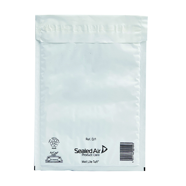 Padded Mail Lite Tuff Bubble Lined Postal Bag Size D/1 180x260mm White (100 Pack) 103015252
