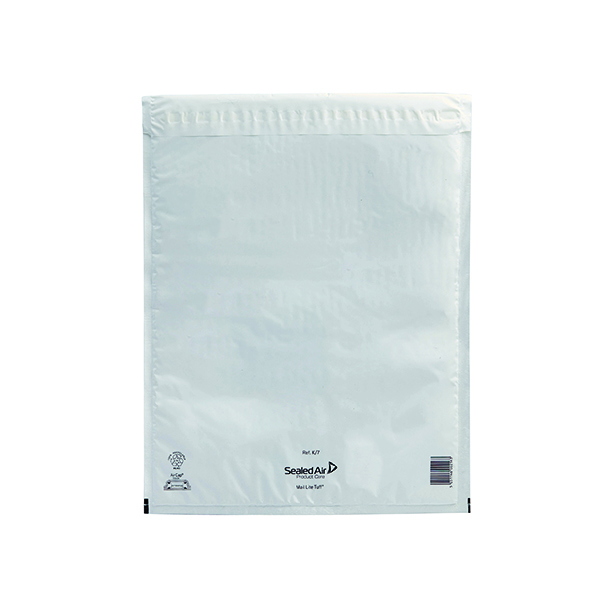 Padded Mail Lite Tuff Bubble Lined Postal Bag Size K/7 350x470mm White (50 Pack) 103015256