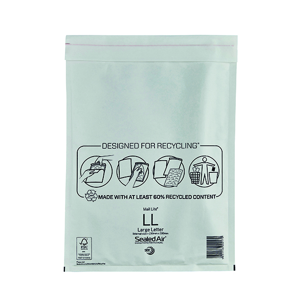 Bubble Mail Lite Bubble Lined Postal Bag Size LL 230x330mm White (50 Pack) MAIL LITE LL