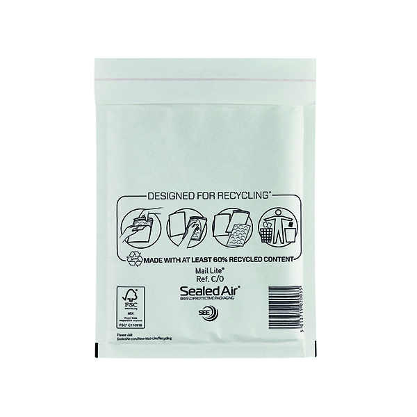 Bubble Mail Lite Bubble Lined Postal Bag Size C/0 150x210mm White (100 Pack) MLW C/0