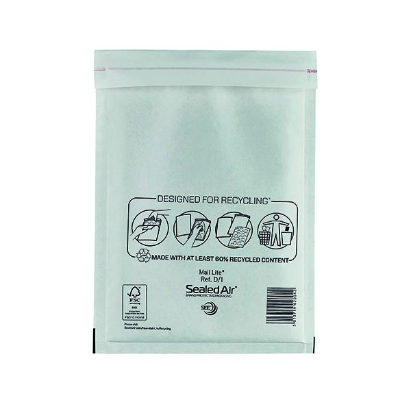 Bubble Mail Lite Bubble Lined Postal Bag Size D/1 180x260mm White (100 Pack) MLW D/1