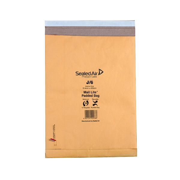 Padded Mail Lite Padded Postal Bag Size J/6 314x450mm Gold (50 Pack) 100943512