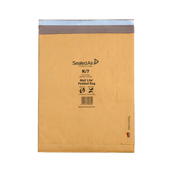 Padded Mail Lite Padded Postal Bag Size K/7 365x476mm Gold (50 Pack) 100943514
