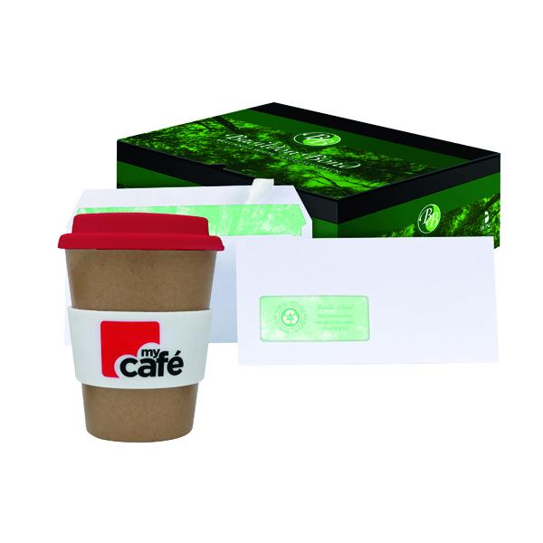 White Plain Basildon DL Window Envelopes White (500 Pack) FOC MyCafe Bamboo Mug MYC100001