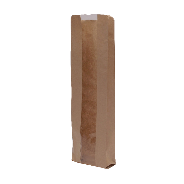 MyCafe Kraft Window Baguette Bags 100x150x355mm Brown (1000 Pack) 303251