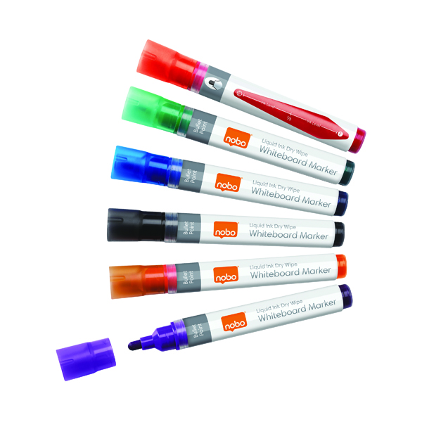 Nobo Liquid Ink Drywipe Marker Assorted (6 Pack) 1901077